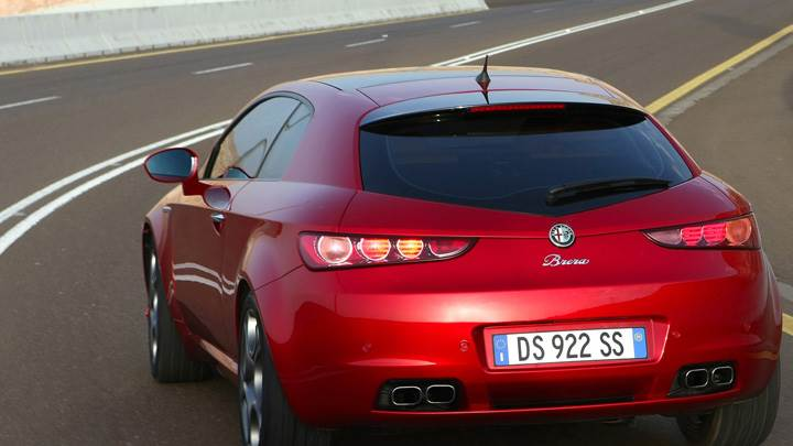Back Pose Of 2009 Alfa Romeo Brera Running In Red